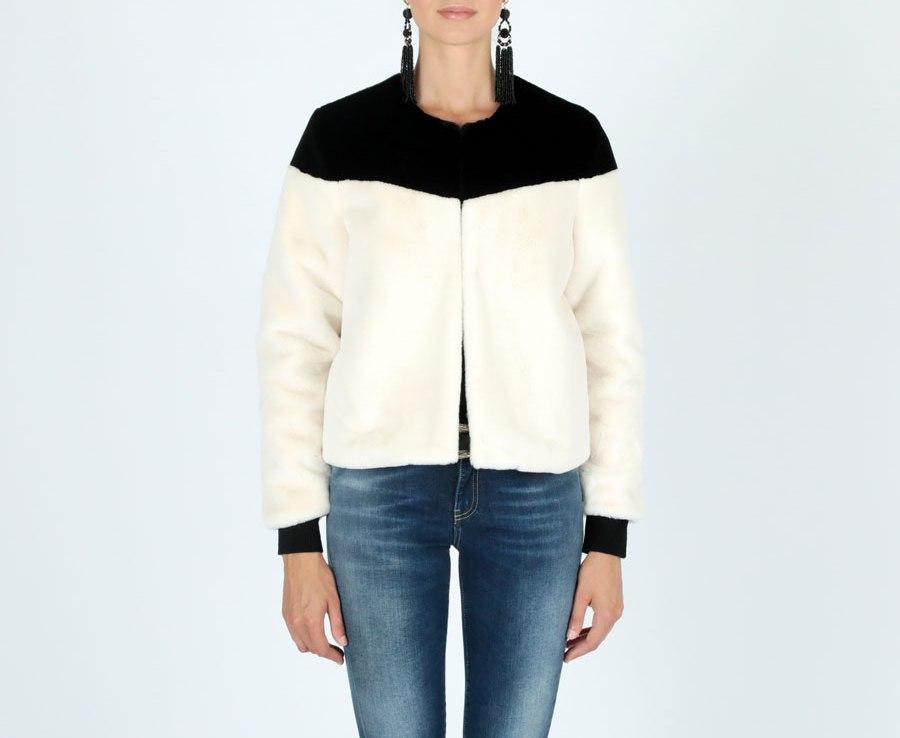 designer fashion 2e637 ea52e LE VOLIERE Giubbotto Ecopelliccia B&W WW18C009FW Panna-Nero